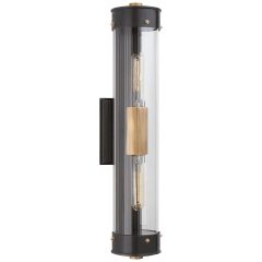 Marais Linear Bath Sconce in Bronze and Hand-Rubbed Antique Brass with Clear Glass