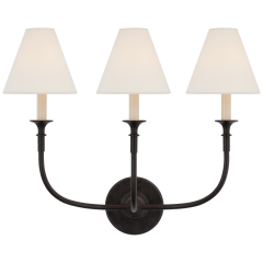 Piaf Triple Sconce in Aged Iron with Linen Shades