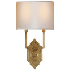 Silhouette Fretwork Sconce in Hand-Rubbed Antique Brass with Natural Paper Shade