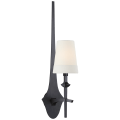 Pippa Medium Sconce in Aged Iron with Linen Shade