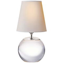 Terri Round Accent Lamp in Crystal with Natural Paper Shade