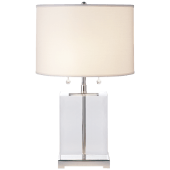 Block Table Lamp in Crystal and Polished Silver with Cotton Shade
