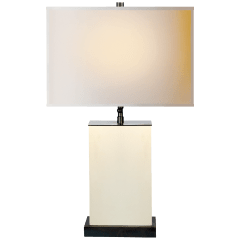 Dixon Small Table Lamp in Parchment Leather with Natural Paper Shade