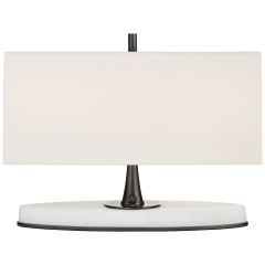 Casper Small Desk Lamp in Bronze and Alabaster with Linen Shade