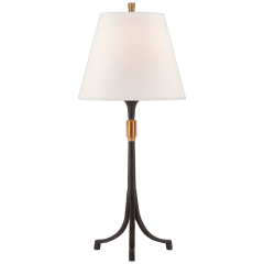 Arturo Medium Forged Table Lamp in Aged Iron and Brass with Linen Shade