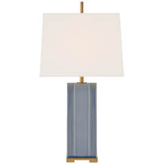 Niki Medium Table Lamp in Polar Blue Crackle with Linen Shade