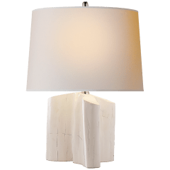 Carmel Table Lamp in Plaster White with Natural Paper Shade