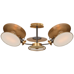 Osiris Medium Reflector Semi-Flush Mount in Bronze and HAB with Linen Diffusers