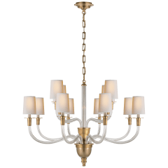 Vivian Large Two-Tier Chandelier in Hand-Rubbed Antique Brass with Natural Paper Shades