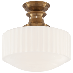 Milton Road Flush Mount in Hand-Rubbed Antique Brass with White Glass