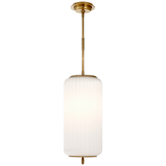 Eden Medium Pendant in Hand-Rubbed Antique Brass with White Glass