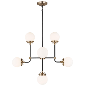 Cafe Eight Light Small Chandelier Satin Brass Bulbs Inc