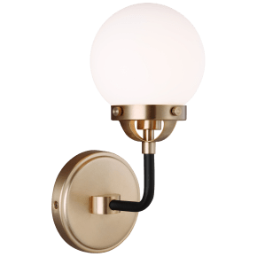 Cafe One Light Wall Sconce Satin Brass Bulbs Inc