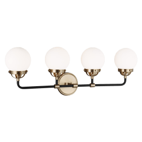 Cafe Four Light Wall / Bath Satin Brass Bulbs Inc