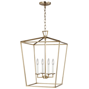 Dianna Four Light Medium Lantern Satin Brass Bulbs Inc