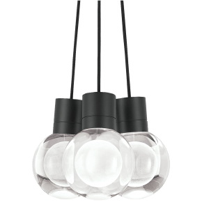 Mina Pendant 3-LITE Chandelier Clear black 3000K 90 CRI LED 120v (t24)