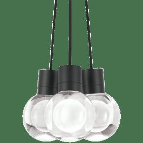 Mina Pendant 3-LITE Chandelier Clear Black 3000K 90 CRI LED 120v (t24)