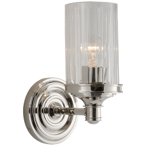 Ava Single Sconce in Polished Nickel with Crystal