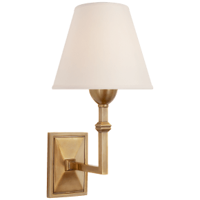 Jane Wall Sconce in Hand-Rubbed Antique Brass with Natural Paper Shade