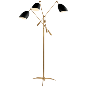 Sommerard Triple Arm Floor Lamp in Hand-Rubbed Antique Brass with Black