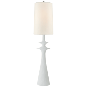 Lakmos Floor Lamp in Plaster White with Linen Shade