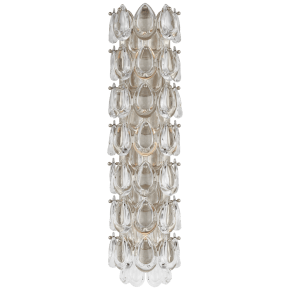 """Liscia 22"""" Sconce in Burnished Silver Leaf with Crystal"""
