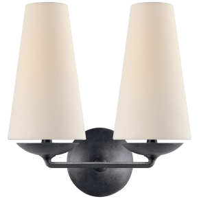Fontaine Double Sconce in Aged Iron with Linen Shades