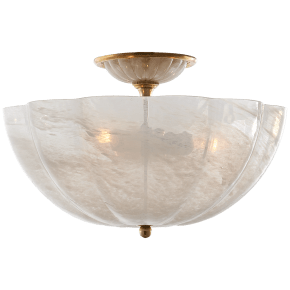 Rosehill Semi-Flush in Hand-Rubbed Antique Brass with White Strie Glass