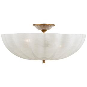 Rosehill Large Semi-Flush Mount in Hand-Rubbed Antique Brass with White Strie Glass