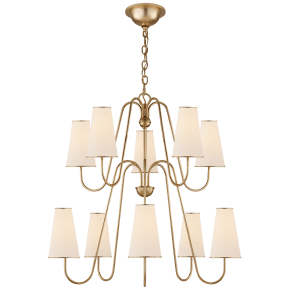 Montreuil Chandelier in Gild with Linen Shades
