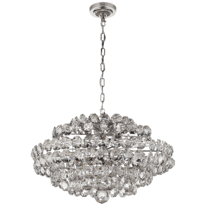 Sanger Small Chandelier in Polished Nickel with Crystal