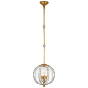 Gisela Medium Globe Pendant in Hand-Rubbed Antique Brass with Seeded Glass