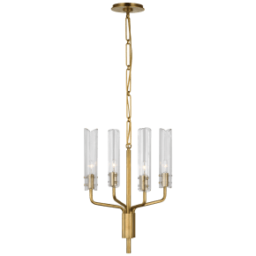 Casoria Petite Chandelier in Hand-Rubbed Antique Brass with Clear Glass