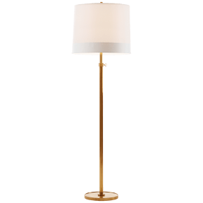 Simple Floor Lamp in Soft Brass with Silk Banded Shade