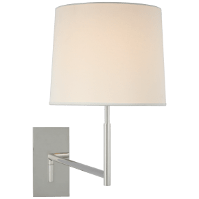 Clarion Medium Articulating Sconce in Polished Nickel with Linen Shade