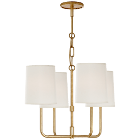 Go Lightly Small Chandelier in Gilded with Silk Shades