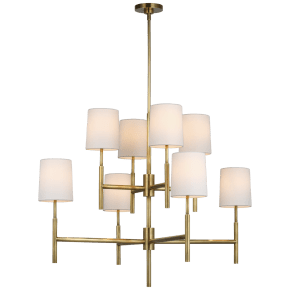 Clarion Large Two Tier Chandelier in Soft Brass with Linen Shades