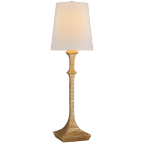 Briar Buffet Lamp in Gilded Iron with Linen Shade