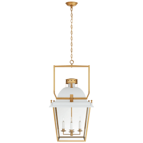 Coventry Large Lantern in Matte White and Antique-Burnished Brass with Clear Glass