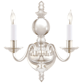 George II Double Sconce in Crystal with Polished Nickel