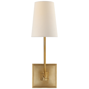 Venini Single Sconce in Antique-Burnished Brass with Linen Shade