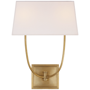 Venini Double Sconce in Antique-Burnished Brass with Linen Shade
