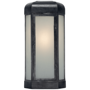 Dublin Large Faceted Sconce in Aged Iron with Frosted Glass