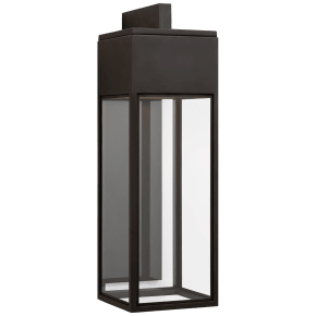 Irvine Large Bracketed Wall Lantern in Bronze with Clear Glass