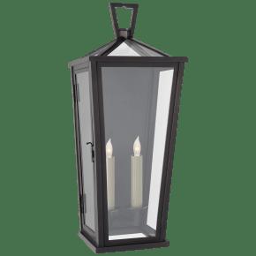 Darlana Medium Tall 3/4 Wall Lantern in Bronze with Clear Glass