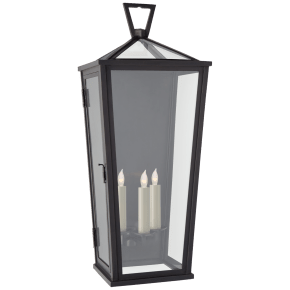 Darlana Large Tall 3/4 Wall Lantern in Bronze with Clear Glass