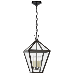 Classic Darlana Medium Hanging Lantern in Bronze with Clear Glass