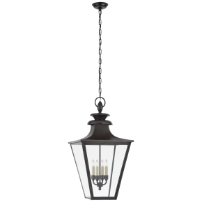 Albermarle Large Hanging Lantern in Blackened Copper with Clear Glass