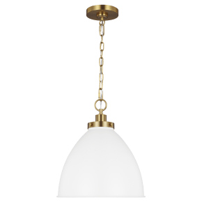 Wellfleet Medium Dome Pendant Matte White Burnished Brass