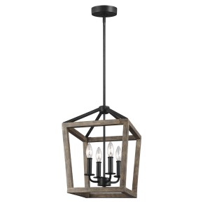 Gannet Small Chandelier Weathered Oak Wood / Antique Forged Iron